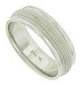 Multiple bands of distinctive milgrain cover the face of this 14k white gold mens wedding band
