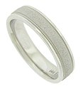 This handrafted 14K white gold mens wedding band features a sanded white gold central band
