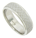 This handrafted 14K white gold mens wedding band features a hammered cross-hatched central band