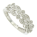 Three sparkling layers of diamond frosted cutwork dance across the surface of this 14K white gold wedding band