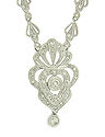 This fantastic antique style pendant necklace boasts 1.60 carats of dazzling round cut diamonds