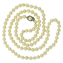 This creamy strand of matched pearls is finished with a 14K white gold clasp fashioned as a flower