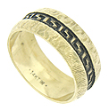 This handsome mens wedding band features an etched engraving on its surface, while a darkened Greek key  design is deeply engraved at the center of the band