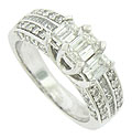 This spectacular 14K white gold engagement ring is set with approximately 2 carats total weight of diamonds