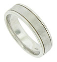Crafted of 14K white gold, this mens wedding band has a central band designed with a satin finish, deep channels separate the center band from the smoothly polished edges