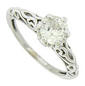 This fantastic 14K white gold engagement ring features an EGL certified, .88 carat, H color, Vs2 clarity diamond