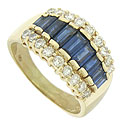 Fashioned of 14K yellow gold, this stunning ring features a row of deep hued, baguette sapphires