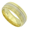 This handsome 14K bi-color wedding band is decorated with a trio of wide bands