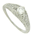 This spectacular platinum engagement ring is set with a dazzling, .28 carat, F color, Vs2 clarity diamond