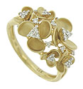 This elegant 14K yellow gold estate ring features trios of scooped petals surrounding fine faceted diamonds