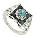This stunning 14K white gold engagement ring features a central round cut blue zircon surrounded by french cut onyx