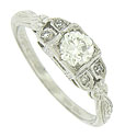 This elegant 14K white gold engagement ring is set with a .50, GIA certified, I color, VVs2 clarity diamond