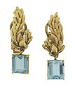 Exquisite emerald cut aquamarines dangle from these 18k yellow gold estate earrings