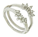 Ten round cut diamonds form sparkling rays of light on this vintage 14K white gold engagement ring bracket