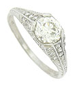This exquisite platinum engagement ring features a 1.06 carat, GIA certified, H color, Vsi clarity diamond