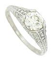 This exquisite platinum engagement ring features a 1.06 carat, GIA certified, H color, Vsi clarity diamond
