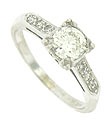 This handsome 14K white gold vintage engagement ring is set with a glorious .54 carat, GIA certified, H color, Vs2 clarity diamond