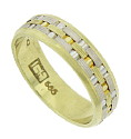 Layers of woven 14K white and yellow gold are linked together on the face of this handsome estate wedding band
