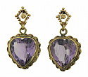 Lovely heart cut amethyst are featured in these 14K estate earrings