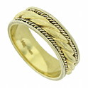 This 14K yellow gold mens wedding band is designed with layers of twisted gold rope