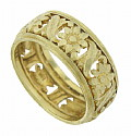 Exquisite floral cutwork dances across the surface of this 14K yellow gold wedding band