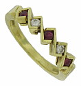 This elegant 18K yellow gold stackable wedding band is set with three round cut rubies and two round cut diamonds