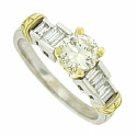 This elegant 14K white gold engagement ring is set with a spectacular .80 carat round cut, G color, Si1 clarity diamond