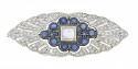 This spectacular 18K white gold estate pin features a dazzling square cut diamond at its center