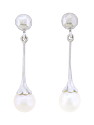 These fabulous 14K white gold estate earrings are fashioned as an elongated floral figure set with a single translucent pearl