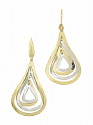 These sparkling 14K bi-color estate earrings are fashioned as a quartet of alternating tear shaped loops