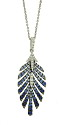 This fantastic 14K white gold feather shaped pendant and necklace is frosted with ombre toned sapphires and detailed in fine faceted diamonds