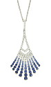 This 14K white gold Art Deco inspired pendant is set with an elegant pattern of diamonds and ombre toned sapphires