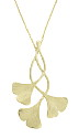 This elegant 14K yellow gold necklace features a pendant fashioned of three curling ginko leaves