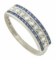A string of glittering round cut diamonds framed in square cut sapphires adorn the face of this 18K white gold and platinum antique wedding ring