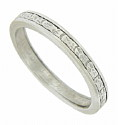 This elegant vintage platinum wedding band is engraved with organic floral decoration
