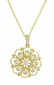 This romantic 14K yellow gold necklace features layers of petal shapes set with diamonds and outlined in delicate milgrain decoration