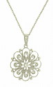 This romantic 14K white gold necklace features layers of petal shapes set with diamonds and outlined in delicate milgrain decoration