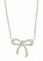 This 14K white gold antique style necklace features a precious bow figure frosted with round cut diamonds