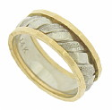 This handsome 14K bi-color wedding band features a central band of white gold ribbons