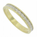 This 14K Bi-color wedding band features a central white gold band of engraved organic figures