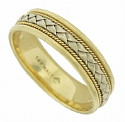 Woven ribbons of white gold framed by twisting ropes of yellow gold press into the center of this antique style Mens wedding band