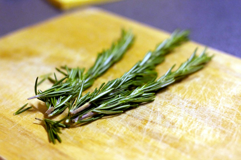 Three sprigs of rosemary for the pork belly mix