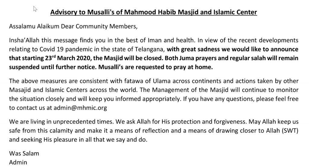 masjid closure