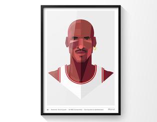Ilustración de Michael Jordan de 40x50 con marco