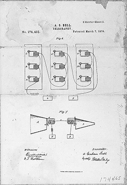 A page from Alexander Graham Bell's patent of the telephone is shown, depicting different illustrations of the device.