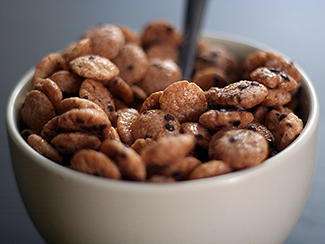 A photograph shows a bowl of cereal.