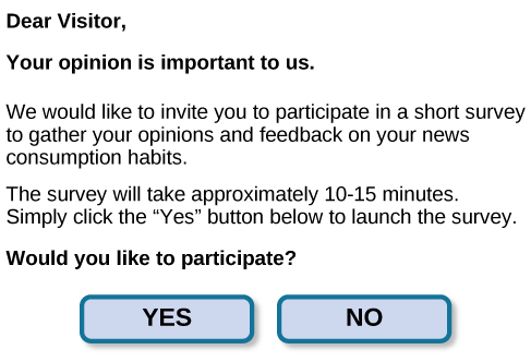 "A sample online survey reads, ""Dear visitor, your opinion is important to us. We would like to invite you to participate in a short survey to gather your opinions and feedback on your news consumption habits. The survey will take approximately 10-15 minutes. Simply click the ""Yes"" button below to launch the survey. Would you like to participate?"" Two buttons are labeled ""yes"" and ""no."""