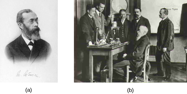 Photograph A shows Wilhelm Wundt. Photograph B shows Wundt and five other people gathered around a desk with equipment on top of it.