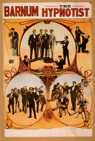 """A poster titled """"Barnum the Hypnotist"""" shows illustrations of a person performing hypnotism."""