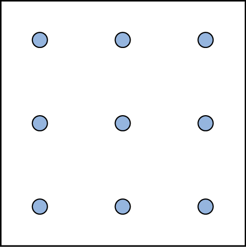 A square shaped outline contains three rows and three columns of dots with equal space between them.